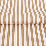 Hans-Textil-Shop Stoff Meterware Streifen 5 mm Beige Baumwolle