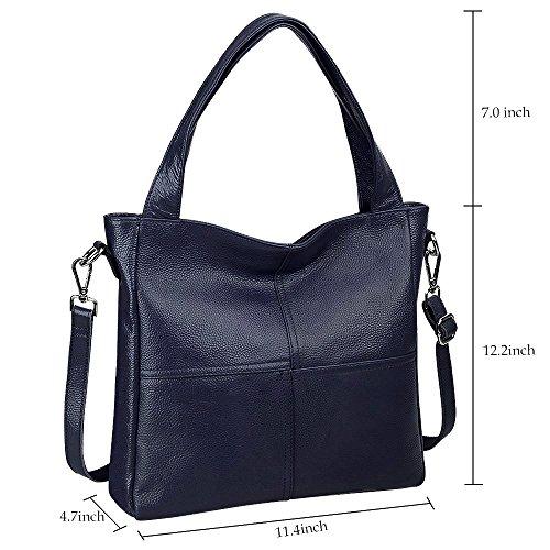 S-ZONE le signore cuoio vero cuoio morbido tote moda classico leggero bonzer shopping borsa borsa crossbody borsa rossa Blu
