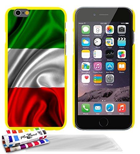 Ultraflache weiche Schutzhülle APPLE IPHONE 6 / 6S [Flagge italien] [Weiss] von MUZZANO + 3 Display-Schutzfolien UltraClear + STIFT und MICROFASERTUCH MUZZANO® GRATIS - Das ULTIMATIVE, ELEGANTE UND LA Gelb + 3 Displayschutzfolien