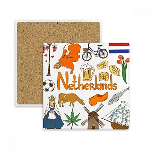 DIYthinker Pays-Bas Landscap Animaux Drapeau National Tasse Place Coaster Porte-Absorbant Pierre pour Le Cadeau de Boissons Multicolor