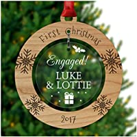 PERSONALISED Engaged Couple 1st First Christmas Tree Ornament Decoration Bauble Xmas - Cherry Veneer and Acrylic Engraved Christmas Tree Ornament - Keepsake Christmas Gifts Presents