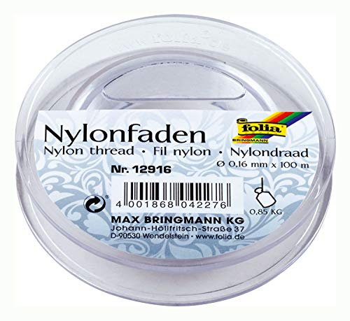 Folia Nylonfaden auf Spule, transparent, 0,16mmx100m, Tragkraft 0,85kg