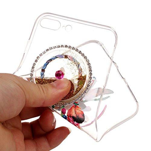 SKYXD Pour Iphone 7 PLUS 5.5 Pouce Coque 3D Motif Campanule Bling Glitter Fluide Liquide Sparkles Sables Mouvants Paillettes Flowing Brillante Étui Strass Ultra Mince Transparente Crystal Clair Souple Or