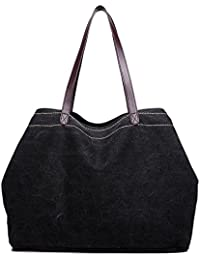 LOSMILE Women's Handbags, Large Canvas Tote Bag Ladies Top Handle Beach Shoulder Bags For School Work Travel And...