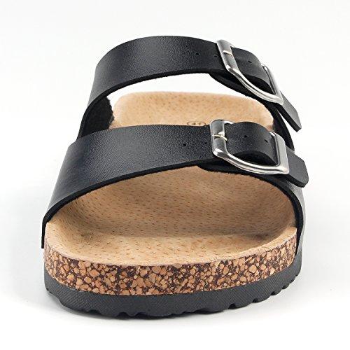 SANDALUP Unisex-Erwachsene Pantoletten mit Korkfußbett Schwarz