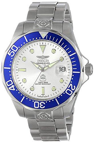 Invicta 3046 Pro Diver  Herren Uhr Edelstahl Automatik silbernen Zifferblat