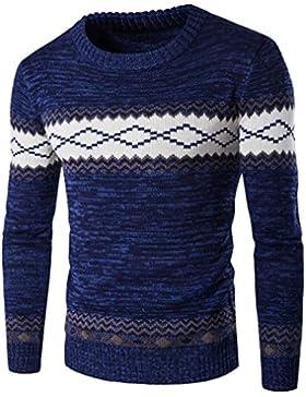 Honghu Casual Jersey para Hombre, Navidad Manga Larga Cuello Redondo Suéter Top Tejido Sweater