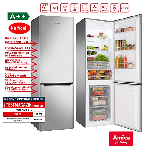 Amica KGC 15494 E/VC 1802 AFX Kühlschrank/A++ /Kühlteil180 liters /Gefrierteil70 liters