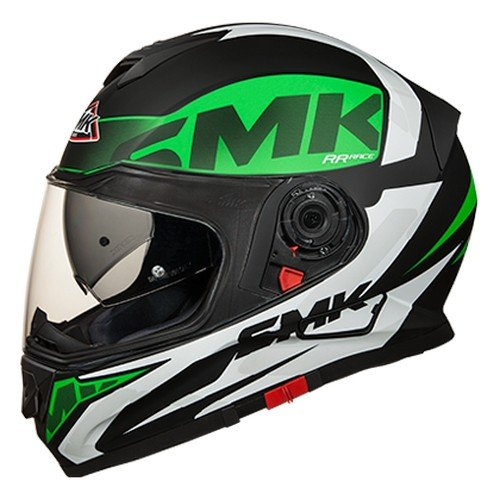 SMK MA281 Twister Logo Graphics Pinlock Fitted Full Face Helmet With Clear Visor (Matt Black, Green and White, XL)