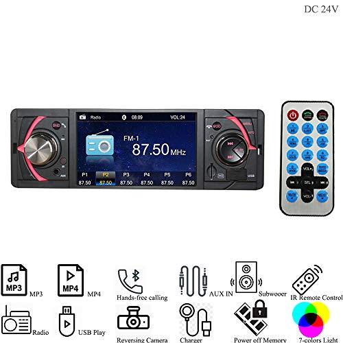 Hi-azul Autoradio, 1 Din In-Dash Car Stereo DC 24V Car Radio AUX Audio Player mit mit 4,1 Zoll TFT Bildschirm Unterstützen Bluetooth, FM Radio, USB/SD, Rückfahrkamera Verbindung (für 24V Fahrzeuge) (Radio 24 Volt)
