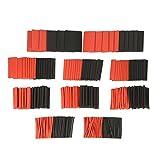 KKmoon 428 Stücke Rot Schwarz Schrumpfschlauch Set, Polyolefin Halogenfrei Heat Shrink Tube in 10 Sortiment, Elektrisch Wire Wrap Assortment Draht Kabel Kit Schrumpfverhältnis 2: 1 φ1.5-φ30mm