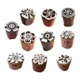#10: Clay Printing Stamps Arty Crafty Small Floral Shape Wooden Blocks (Set of 10)