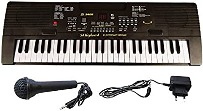 Fantasy Plastic 54 Key Brandstand Piano with LED Display, Microphone, Recording and Adapter (Black)