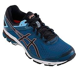Asics Mens Gt-1000 4 Mosaic Blue, Black and Flash Coral Mesh Running Shoes - 11 UK