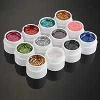 12 colores mezclados con purpurina UV constructor Gel Acrílico Nail Art Decoración