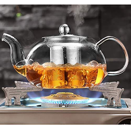 Große Glas-Teekanne mit Edelstahl-Sieb und Deckel, Borosilikatglas-Teekessel für Herdplatten, Blühen und lose Teekannen (33,8 oz, 1000 ml) Blühen Tee