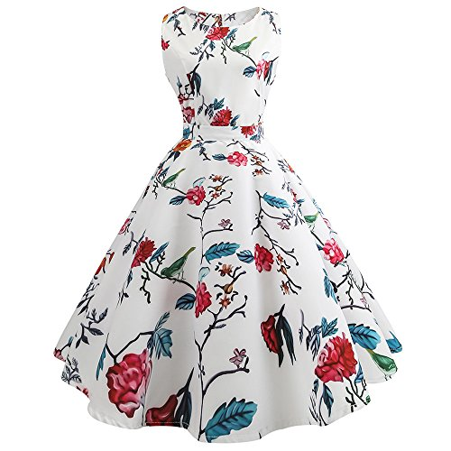 MISSWongg_Kleider Damen Vintage Cocktailkleid Rockabilly Retro Schwingen Kleid Faltenrock Drucken Taillen Kleid Swing Kleider