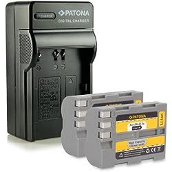 PATONA 4in1 Chargeur + 2x Batterie EN-EL3E pour Nikon D50 D70s D80 D90 D200 D300 D300S D700