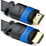 deleyCON 7,5m plana HDMI Cable - compatible con HDMI 2.0 / 1.4 - UHD / 4K / HDR / 3D / 1080p / 2160p / ARC - de alta velocidad con Ethernet - Negro