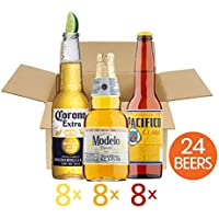 Mexican World Lager Beer 24 Bottles Mixed Pack - 8x330ml Corona Extra Bottles 4.5% ABV, 8x355ml Modelo Especial Bottles 4.5% ABV and 8x355ml Pacifico Clara Bottles 4.5% ABV - Ideal Beer Gift