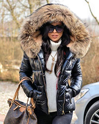 8effa20e8032 Aofur New Ladies Quilted Padded Puffer Bubble Fur Collar Warm Thick ...