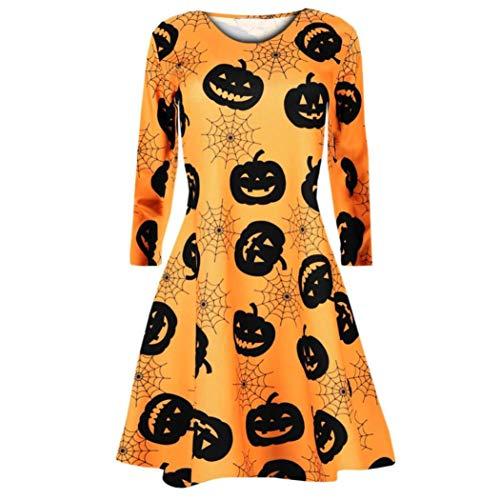 Longra Damen Langarm Halloween Pumpkin Spinnennetz Fledermäuse Totenköpfe Smock Skaterkleid Swing...