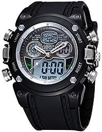 Panegy - Montre Etanche Analogique-Digital de Sport numérique double temps avec alarme Chrono Chronomètre pour Enfant Garçons Filles - Noir