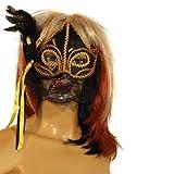 Creation de Hanninger Venezianische Maske schwarz gold schwarz mit Federn Augenmaske Karneval Fasching