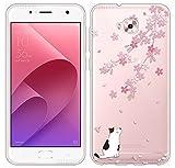 Sunrive Coque pour ASUS Zenfone Live Plus ZB553KL 5,5 Pouces/Zenfone 4 Selfie ZD553KL Silicone Étui Housse Protecteur Souple TPU Gel Transparent Back Case(TPU Chat 1)+ Stylet OFFERTS