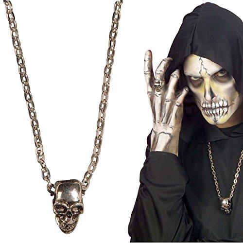 NET TOYS Totenkopf Schmuck Skull Halskette Rocker Kette Biker Totenkopfkette Gothic Totenschädel Kostüm Accessoires