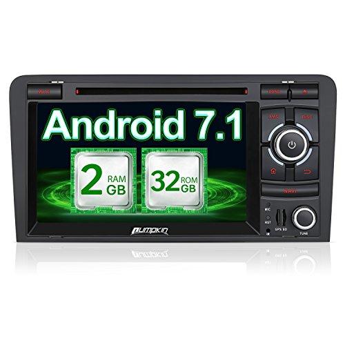 PUMPKIN Android 7.1 32GB + 2GB Autoradio Moniceiver für Audi A3 2003-2011 mit GPS Navigation 7 Zoll Bildschirm Unterstützt Bluetooth WLAN DAB+ Fastboot DVD CD OBD2 Subwoofer USB SD 2 Din