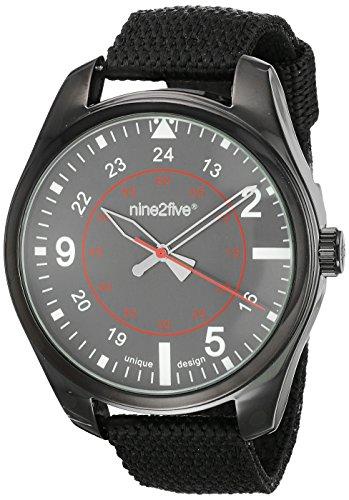 nine2five arde07ngng hombre Rude negro banda de nylon esfera gris reloj