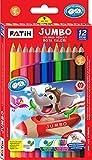 KrevoArt - Set di matite colorate per bambini dai 3 anni in su, con 12 matite colorate esagonali Jumbo, elevata resistenza alla rottura, in legno FSC ecologico, certificato TÜV Nord, CE, EN71