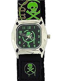 Reflex - 0037 - Montre Verte pour Garçon avec Tête de Mort et Bracelet en Tissu