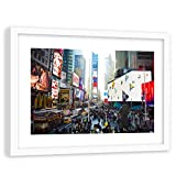 Feeby Tableau Cadre Blanc Times Square Impression Art New York City Multicolore 60x40 cm