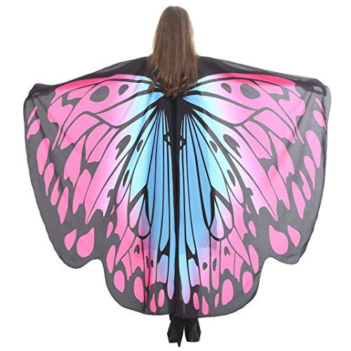 che Gewebe Schmetterlings Flügel Schal Sonnena,feenhafte Damen Nymphe Pixie Halloween Cosplay Weihnachten Cosplay Kostüm Zusatz (168*135CM, Sexy orange L) (Halloween Schal)