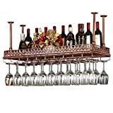 Loft Dach zum Aufhängen von Wein Champagner Glas Glasbehälter Weinflaschen Retro Anhänger Wand Regal Wein Regal Eisen Metall Rack Modern 60×35cm bronze