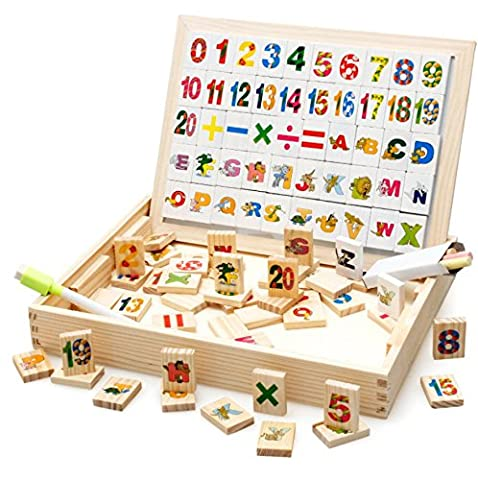 AM Seablue 100 Pieces Wooden Toy Drawing Writing Board Magnetic Easel Jigsaw Puzzle Game, Double Face Jigsaw& Drawing Easel Toys for Kidsr3 Years Old- (Number Pattern)