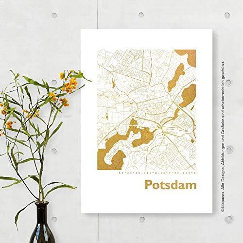 POTSDAM Stadtplan Bild in Gold Kupfer Silber Rosegold, 2 Größen, stilvolles Geschenk für Hochzeit Jahrestag Jubiläum Freunde Familie, Dekoration und Gestaltung für Büro und Zuhause