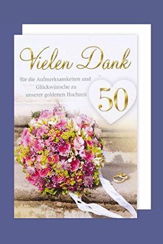 AvanCarte GmbH 50 Goldhochzeit Danksagung 5er Mehrstückpackung Blumenstrauß 5 Karten 15x11cm