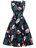 FAIRY COUPLE 50er V-Ausschnitt Rockabilly Polka Blumen Jahrgang Kleid Cocktail DRT072(S,Marineblaue grüne Blätter)