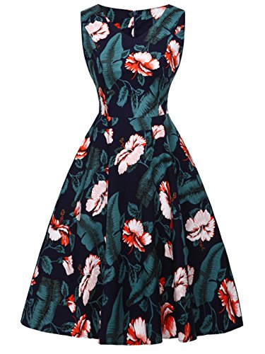 FAIRY COUPLE 50er V-Ausschnitt Rockabilly Polka Blumen Jahrgang Kleid Cocktail DRT072(XL,Marineblaue...