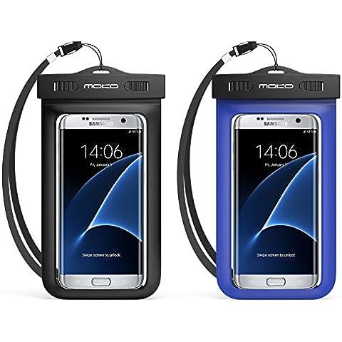 MoKo Funda Impermeable - [2-Pack] Waterproof Case Universal Brazalete y Correa de Cuello para iPhone 7/ 7 Plus/ iPhone 6s/ 6s Plus/ P7 P8 P9 y Smartphone 5.7 Pulgadas, Negro +