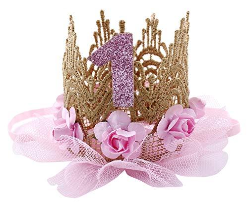 (Cloud Kids Baby Princess Crown 1 Jahr Geburtstag Haarband Mädchen Blume Krone Stirnband Haarschmuck (Hellrosa))
