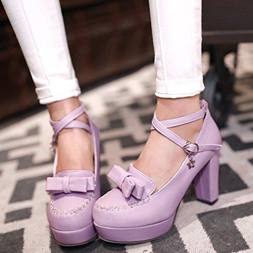 TAOFFEN Femmes Escarpins Soiree Mode Bloc Talons Hauts Plateforme Sangle De Cheville Chaussures De Boucle 437 Violet