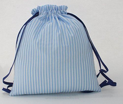Imagen de bolsa  motos, en tela vichy rayas azul y blanco, personalizada con nombre. /30x35 cm./ alternativa