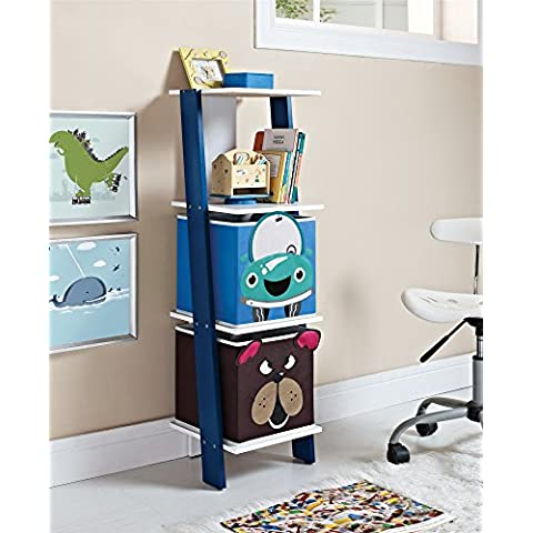 Altra Kids Ladder Bookcase with 2-Animal Face Bins, White/Blue by Altra