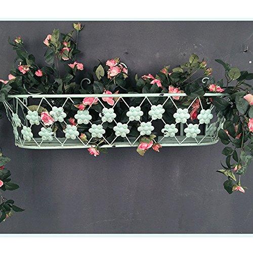 HTZ Fer Blanc Jardin Terrasse Stand De Fleurs Salon Multi-couche Multi-fonction Décoration Murale Stand De Fleurs Maison Étagère En Métal 60x19x14.5cm ++