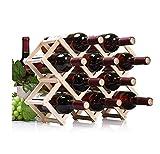 ducomi® Vinoria–Weinregal aus Holz klappbar für Wein und Enoteca–Elegantes und raffiniertes Präsentationsständer mit Papier der Weine in gratis 10 Bottiglie Helles Holz