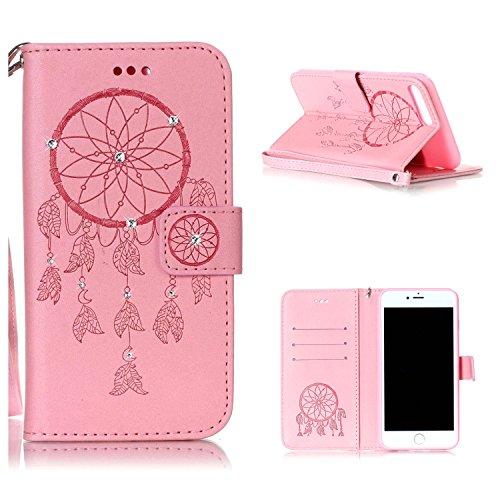 """MOONCASE iPhone 7 Plus Coque, Bling Crystal Diamond Gaufrage Motif Portefeuille Housse en PU Cuir Étui de Protection Case pour iPhone 7 Plus (5.5"""") (Campanule Marron) Campanule Rose"""
